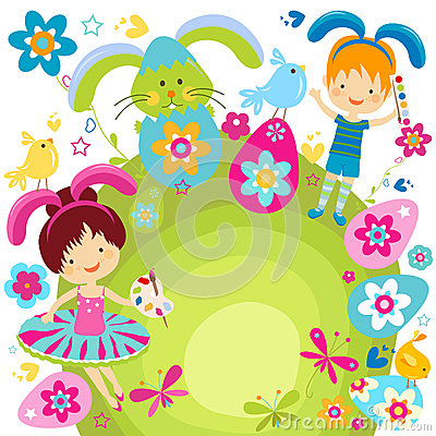 庆祝复活节的男孩和女孩