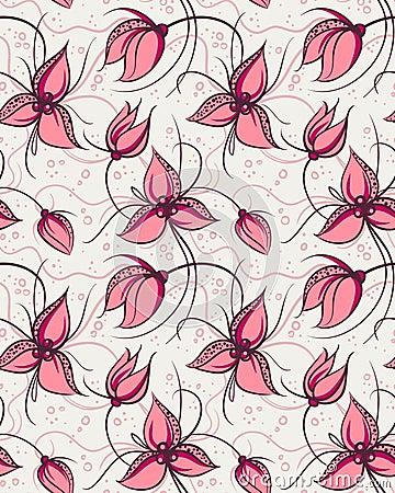 开花兰花模式红色无缝