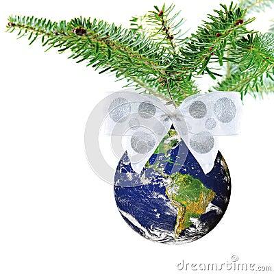 背景弓圣诞节装饰地球行星正方形结构树白色. -弓圣诞节地球结构树白