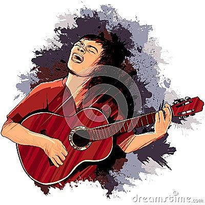 弹吉他的歌唱家图片