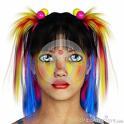 彩虹头发女孩画象图片
