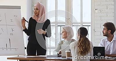 微笑熟练的阿拉伯女商人在挂图上展示创意 股票录像