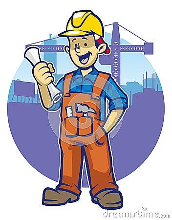 微笑的建筑工人戴一顶安全帽图片