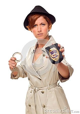 徽章侦探女性手铐
