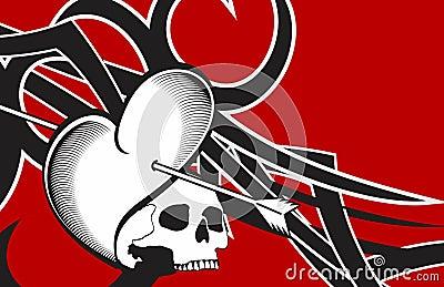 心脏头骨箭头纹身花刺背景