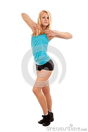 性感的新白肤金发的妇女跳舞