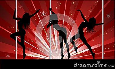 性感舞蹈演员的杆