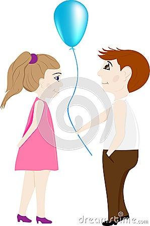 导航恋人一个男孩和一个女孩有一个气球,一张逗人喜爱的明信片和一个