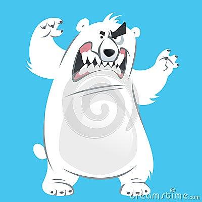滑稽的积极的攻击通过站立和显示的动画片白色北极熊牙.图片