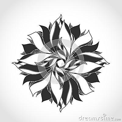 幻想花,黑白纹身花刺样式