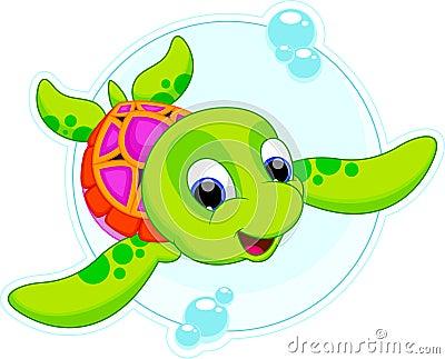 乌龟婴孩是逗人喜爱和可爱的游泳.图片