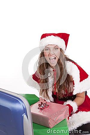 愉快的夫人存在圣诞老人手提箱