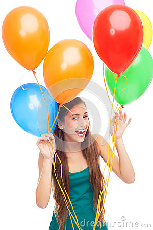 愉快的妇女藏品气球