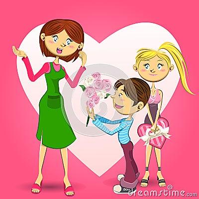 禮物和小男孩的十幾歲的女孩的例證給一個桶花他們的母親,慶祝母親節.圖片