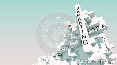 成功,成长,配合,想法,技术,财务,启发,分析,事务,战略,计划词赋予生命与立方体