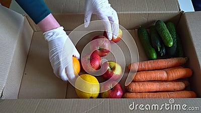 戴着防护性医用手套的志愿者拆开水果和蔬菜 股票视频