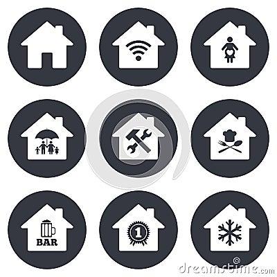 房地产象 家庭保险,产科医院和wifi互联网签字 餐馆,服务和空调标志图片
