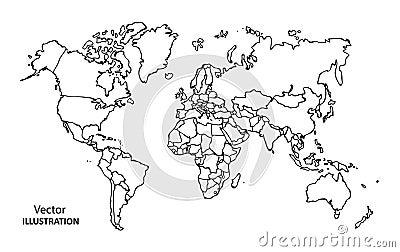 手图画与国家的世界地图