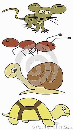 套手动物蜜蜂例证:老鼠,盆栽,草龟和蚂蚁.蜗牛兰图画v动物图片