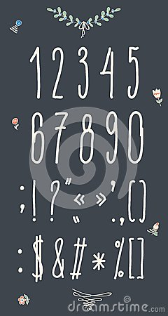 手拉的剪影数字.手写的字体.图片