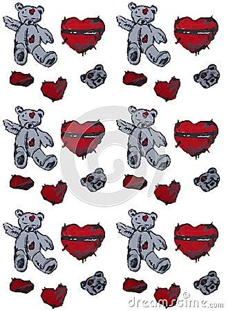手画玩具熊和心脏 无缝的背景图片