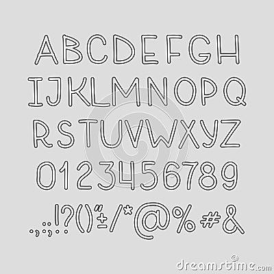 手图画字母表手写abc向量字体 键入信件,数字和标点符号.图片