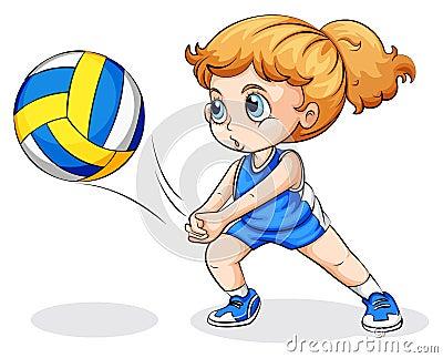 打在白色背景的一个白种人女孩的例证排球.图片