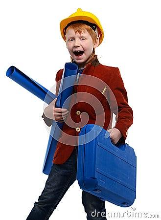 角色扮演卡通囹�a_有计划的扮演工程师角色的小男孩和工具箱.