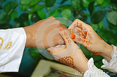 把婚戒放在手指上