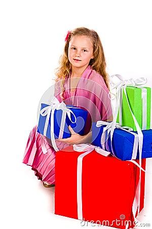 把礼品女孩帽子装箱少许s圣诞老人
