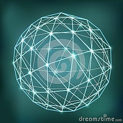 与发光的点的抽象几何球形构成.图片