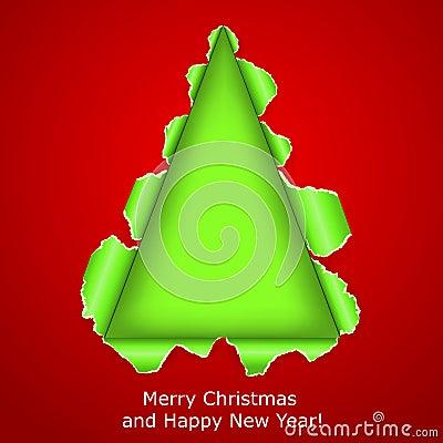 抽象圣诞树做ââof被撕毁的纸张