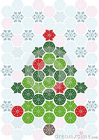 抽象圣诞节马赛克结构树