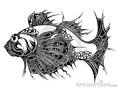 黑色鱼食物双鱼座纹身花刺黄道带.