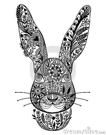 抽象装饰兔子 传染媒介黑白例证图片