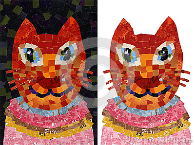 猫画象拼贴画马赛克例证图片