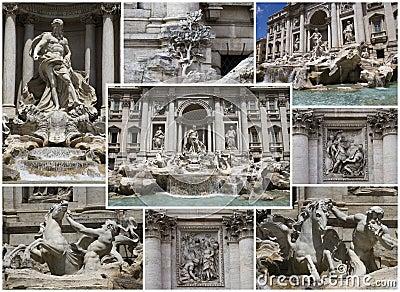 拼贴画喷泉trevi