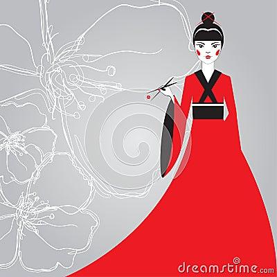 拿着与筷子的一件红色和服的美丽的日本妇女寿司在背景线性樱花