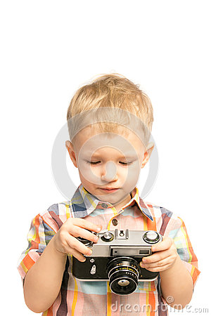 有老照相机的孩子图片