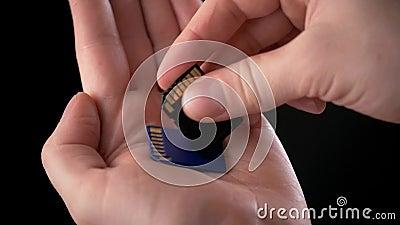 拿着存储卡SD卡片-安全数字式卡片的男性手用于摄象机和计算机在蓝色颜色作为a 股票视频