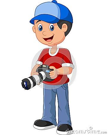 拿着照相机的小男孩动画片