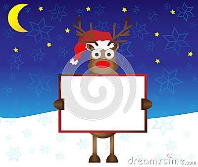 拿着白纸的愉快的红色鼻子驯鹿鹿