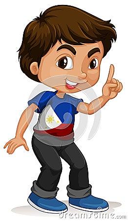 指向手指的菲律宾男孩图片