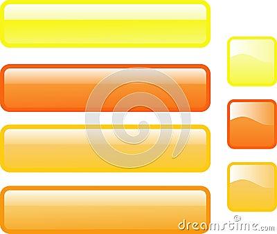 两个明亮的按钮上色光滑的包括的查出的橙色长方形集七方形万维网黄色图片