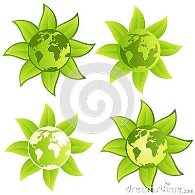 按钮绿色行星符号