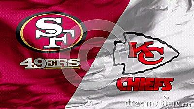 挥舞着旧金山四十九人队对堪萨斯城酋长队的旗帜,这将是第54届超级碗NFL比赛 股票录像