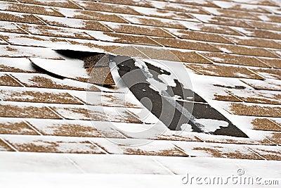 损坏的屋顶盖冬天