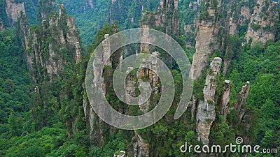 掀动张家界全国森林公园,武陵源,中国看法  影视素材