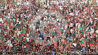 政治集会人群巴基斯坦Tehreek-e-Insaaf 股票录像
