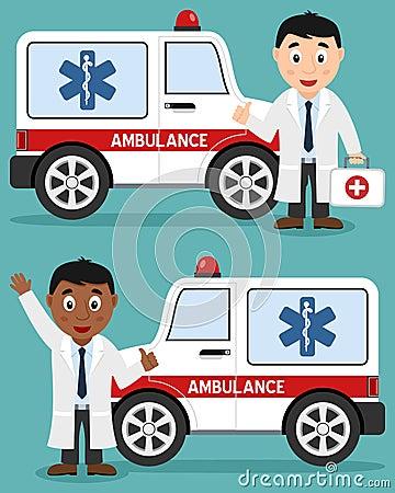 救护车汽车&白和黑人医生图片